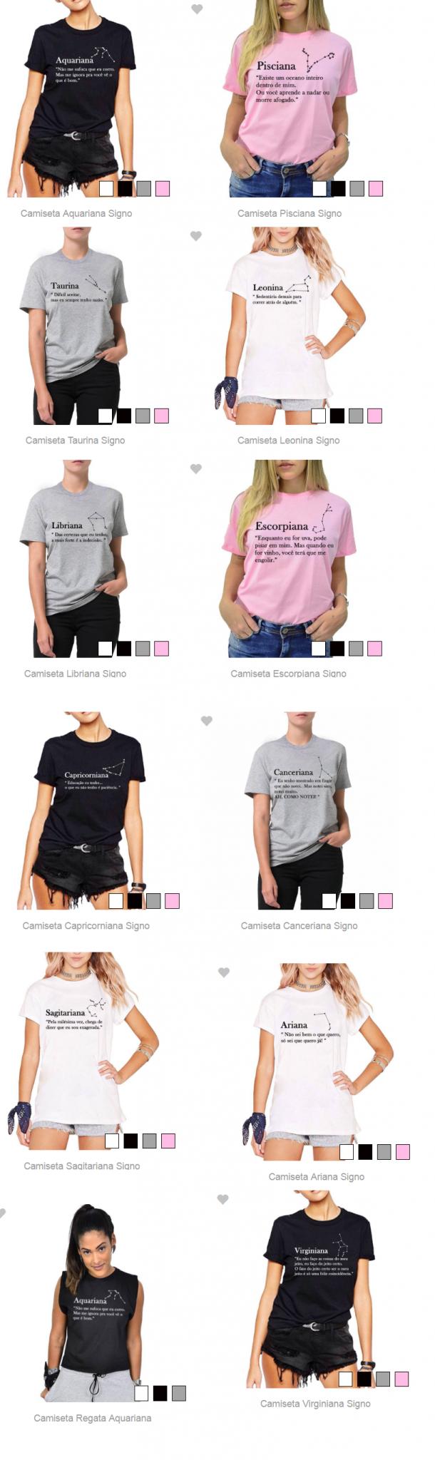Camisetas de Signo 02 - É Trendy: Tee Temática de Signos + Onde Comprar por menos de R$50