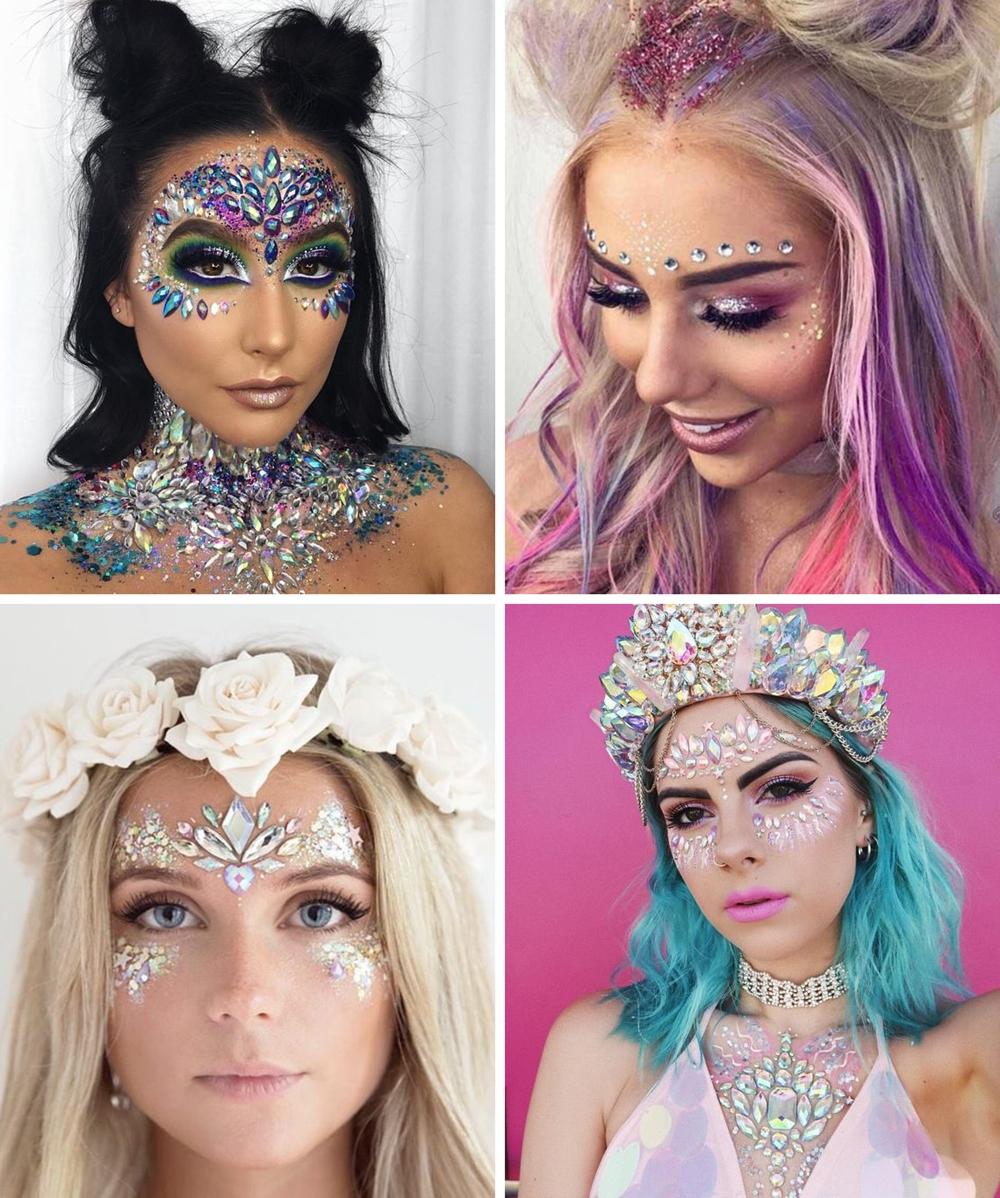 make de carnaval 01 - 10 Makes com Glitter e  Pedrarias pra Inspirar no Carnaval + Dicas de Como Fazer