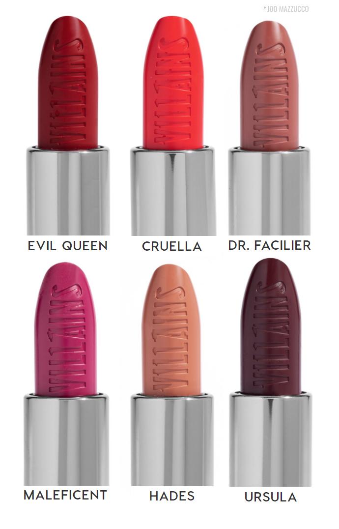 batons colourpop viloes - A Linha de Maquiagens da Colourpop Inspirada nos Vilões da Disney